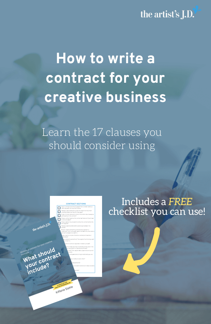 Contracts can be scary, but they are essential to every creative business. Click through to learn the 17 things you should consider including when you write your contract. Plus grab a checklist you can use to create your contract.