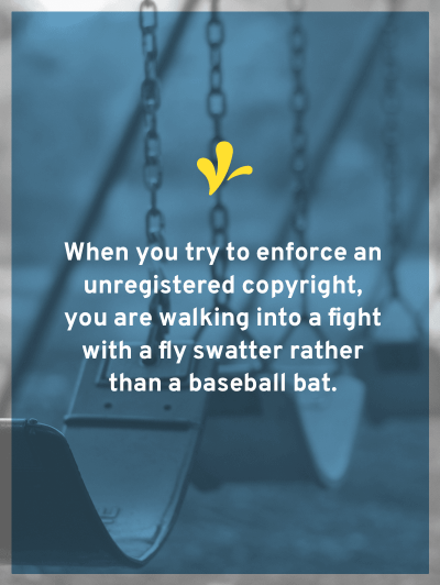Copyright registration changes fly swatters into baseball bats. This is because you have a copyright, but registration allows you to enforce your copyright.
