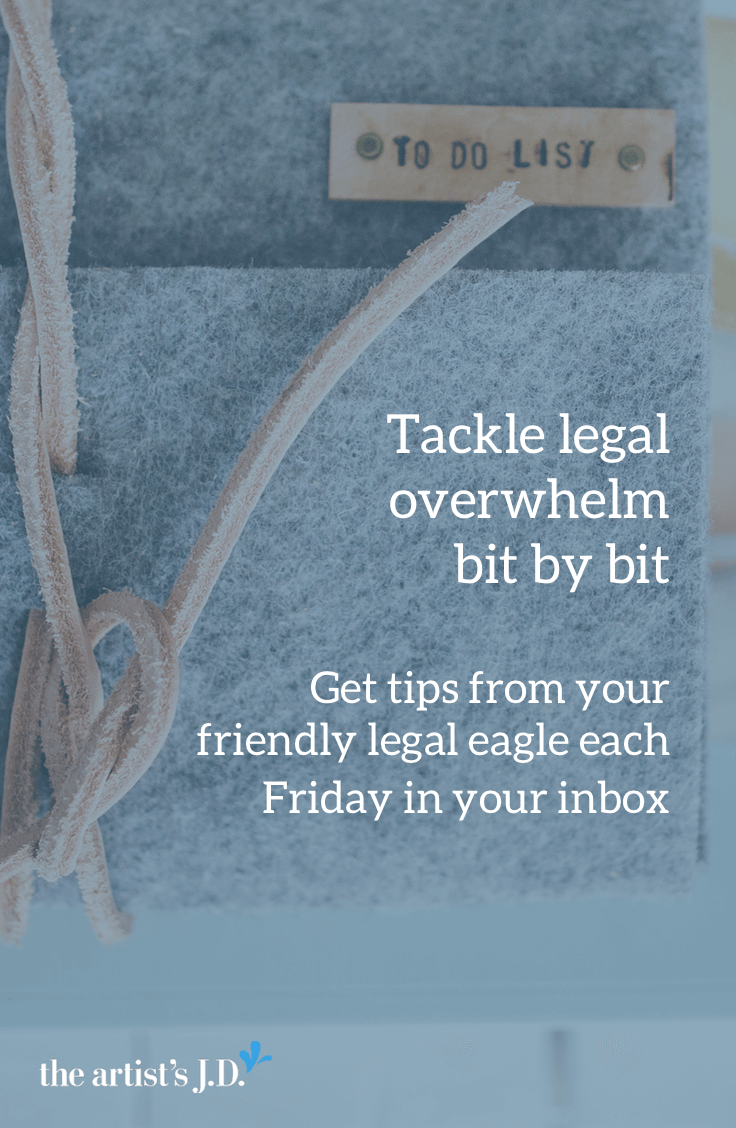 Overwhelmed by all the legal to-dos? Get a free legal tip each week in your inbox from your friendly legal eagle. Click through to sign up.