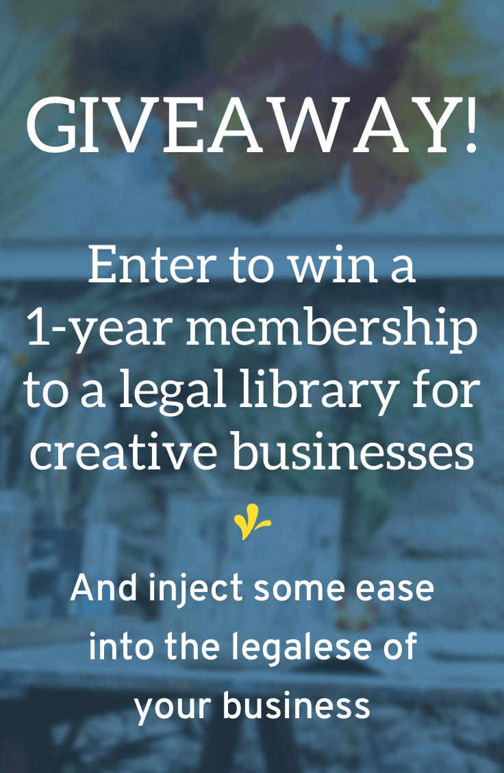 Enter the giveaway to win a 1-year membership to a legal library for creative business owners. And put the ease back in legalese!
