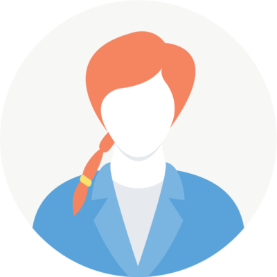 Illustration of Courtney: a red-headed woman in blue blazer.
