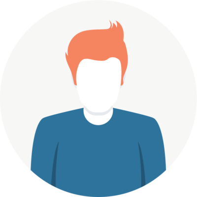 Illustration of Ezra: a spiky orange-haired man with a blue shirt.