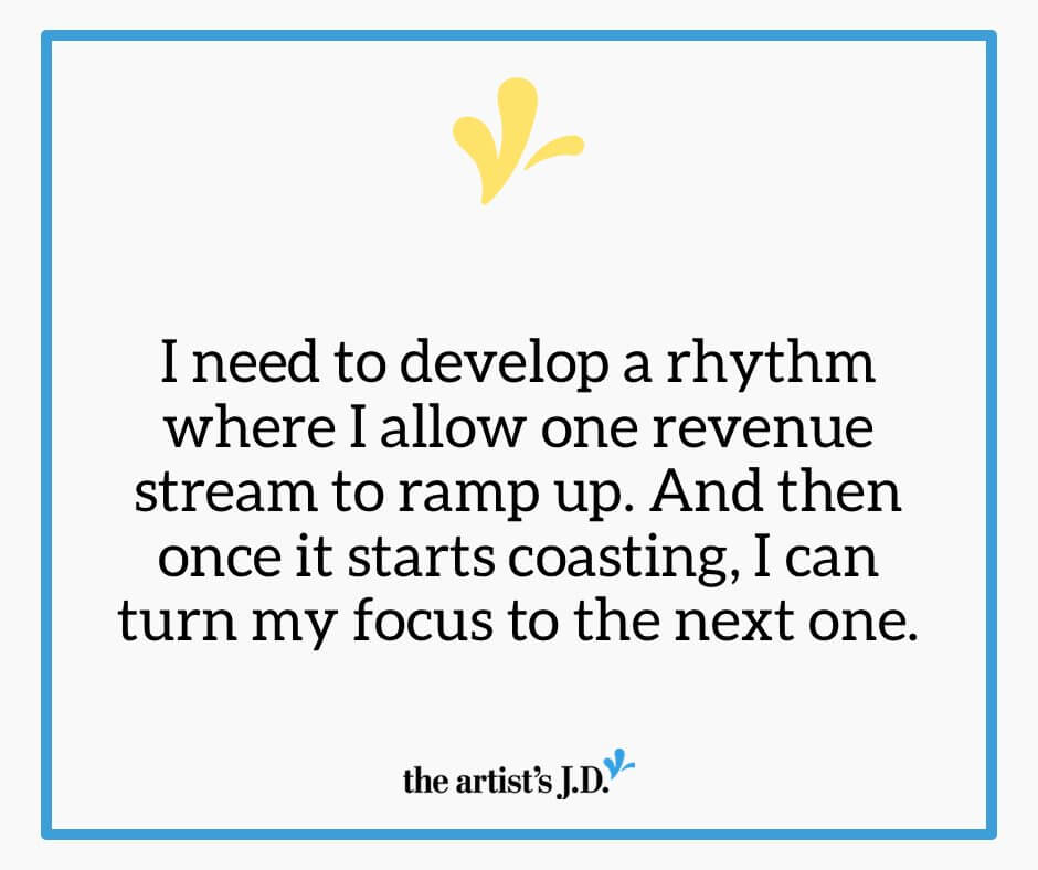 "I'm taking these three rules I learned about ""real"" juggling and applying them to the multiple revenue streams I have in my creative business."