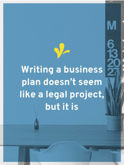 Writing a business plan sounds like business basics, not legal. But it is because some legal projects waste your time and money if they don't move you forward.
