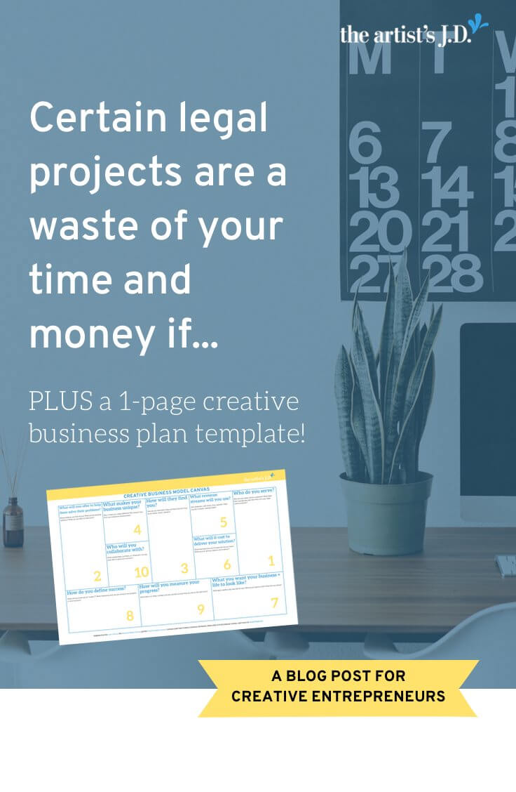 Writing a business plan sounds like business basics, not legal. But it is because some legal projects waste your time and money if they don't move you forward. Click through to read why and grab a FREE 1-page business plan.