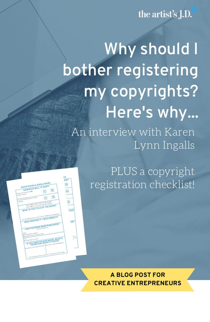 Karen Lynn Ingalls shares how she learned the value of registering copyrights. Learn why you should bother and the two big benefits you'll get.