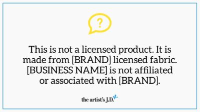 This is not a licensed product. It is made from licensed [BRAND] fabric. [BIZ NAME] is not affiliated or associated with [BRAND].