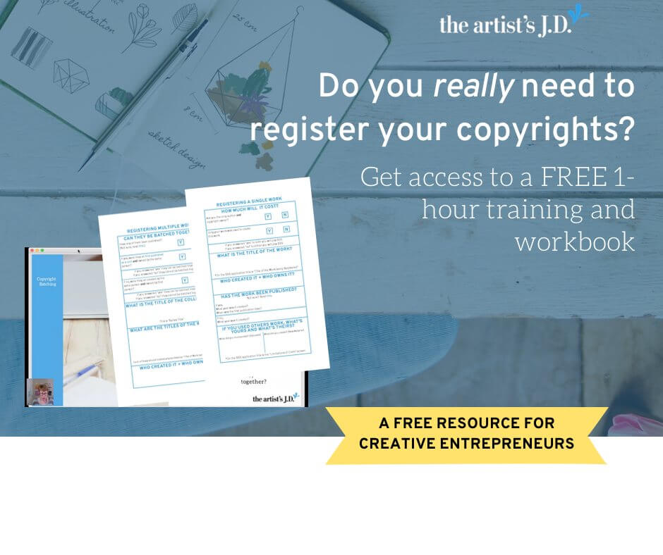 Learn why you need to register your copyrights in this FREE 1-hour training. Plus grab a workbook that to help you submit your application.