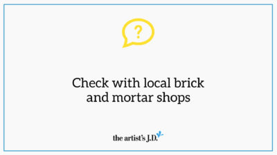 "Question mark and text saying, ""Check with local brick and mortar shops"""
