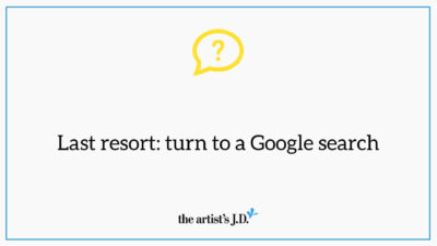 "Graphic with question mark and text saying, ""Last resort: turn to a Google search"""