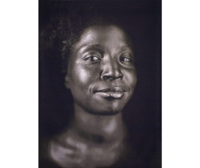 "Reproduction of a Jacquard tapestry ""Lorna"" by Chuck Close"